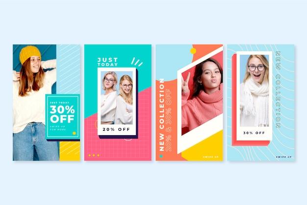 Coleção colorida de histórias de venda do instagram