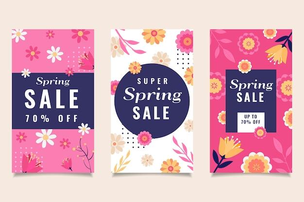 Coleção colorida de histórias do instagram de venda de primavera de flores e folhas