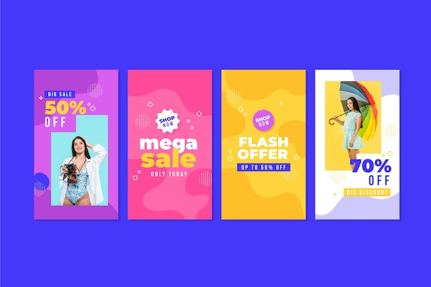 Coleção colorida de histórias do instagram de venda