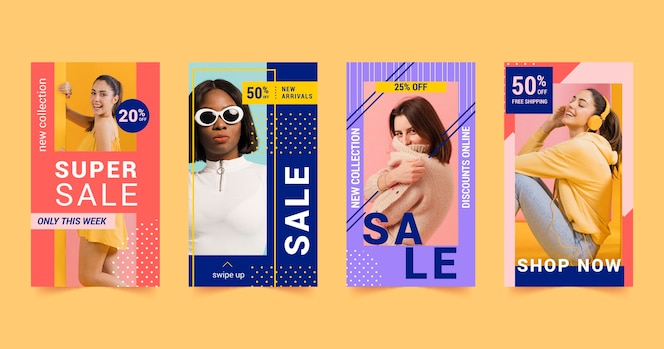 Coleção colorida de histórias do instagram de vendas