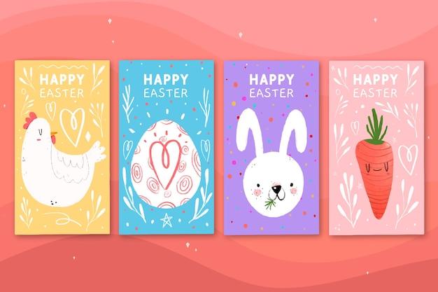 Coleção colorida de histórias do instagram do dia da páscoa