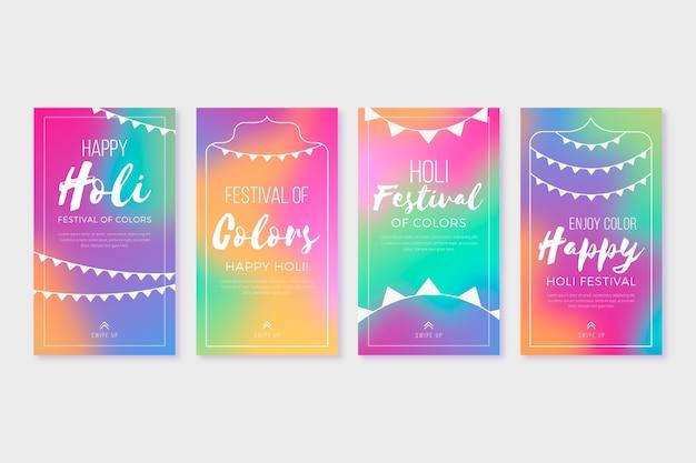 Coleção colorida de histórias do instagram gradiente
