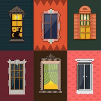 Coleção colorida de janelas noturnas detalhadas