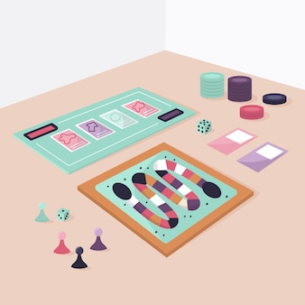Coleção colorida de jogos de tabuleiro