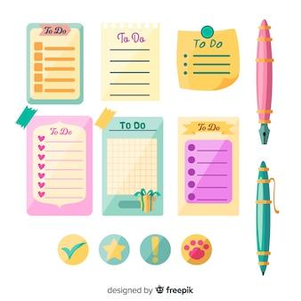 Coleção colorida de listas de tarefas