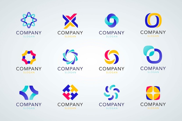 Coleção colorida de logotipo da empresa