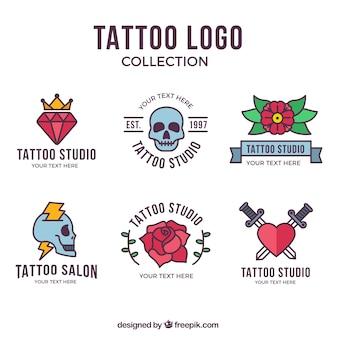 Coleção colorida de logotipo de tatuagem de design plano