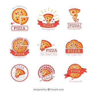 Coleção colorida de logotipos de pizza