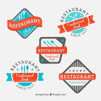 Coleção colorida de logotipos de restaurantes modernos