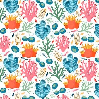 Coleção colorida de padrão de corais