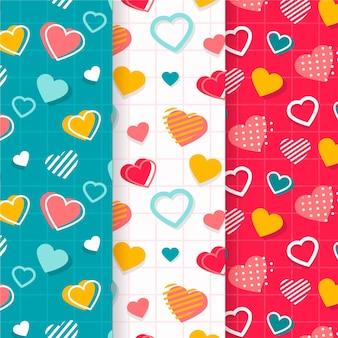 Coleção colorida de padrão de dia dos namorados