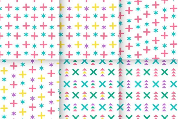 Coleção colorida de padrões de memphis