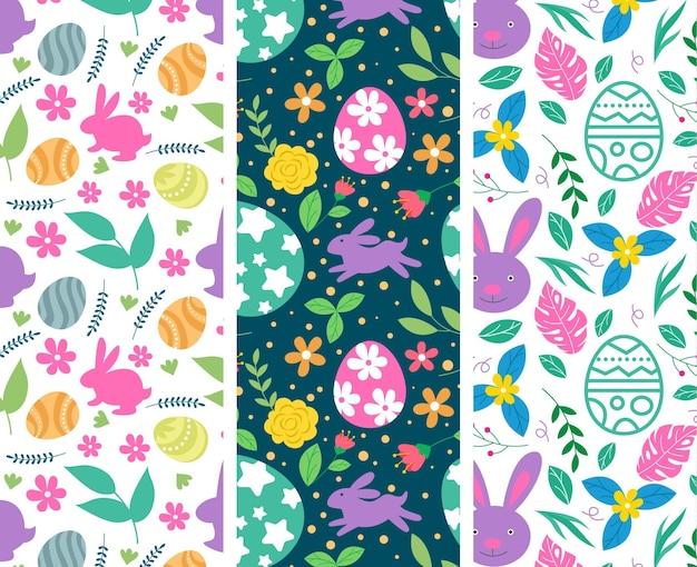 Coleção colorida de padrões de páscoa desenhada à mão