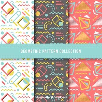 Coleção colorida de padrões geométricos divertidos