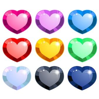 Coleção colorida de pedras preciosas em forma de coração