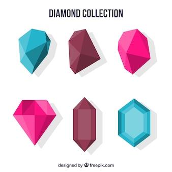 Coleção colorida de pedras preciosas planas