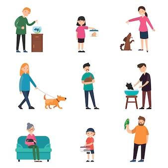 Coleção colorida de pessoas e animais de estimação