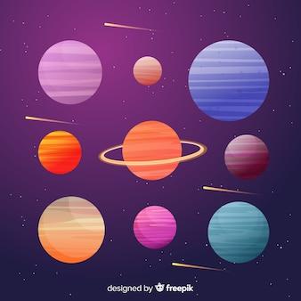 Coleção colorida de planetas planas