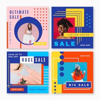 Coleção colorida de postagem de ig de vendas Vetor grátis