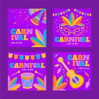 Coleção colorida de postagem de instagram de carnaval de instrumentos e penas