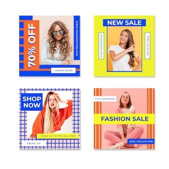 Coleção colorida de postagem de instagram de venda fofa de mulheres Vetor grátis