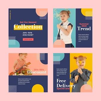 Coleção colorida de postagem de instagram de vendas