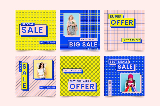 Coleção colorida de postagem do instagram de venda