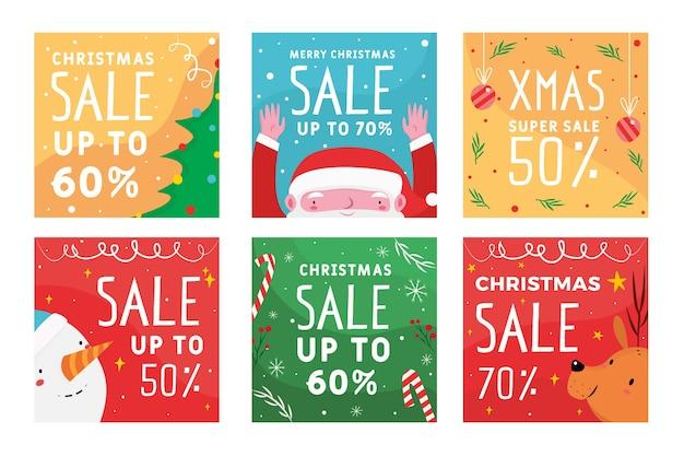 Coleção colorida de postagens de venda de natal