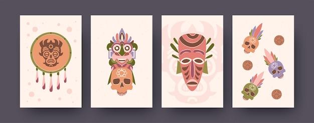 Coleção colorida de pôsteres com elementos maias
