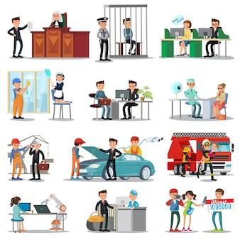 Coleção colorida de profissões e ocupações