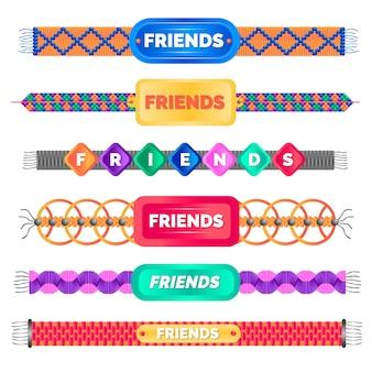 Coleção colorida de pulseiras de amizade
