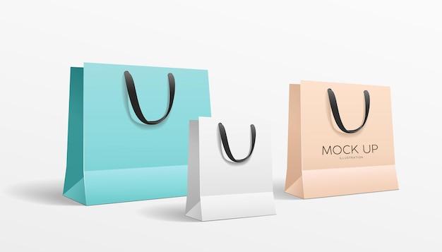 Coleção colorida de sacolas de compras