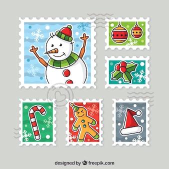 Coleção colorida de selos de natal