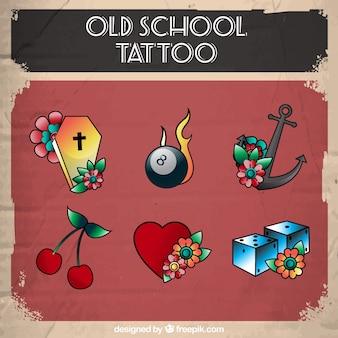 Coleção colorida de tatuagem de design plano