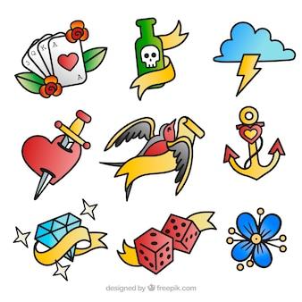 Coleção colorida de tatuagens