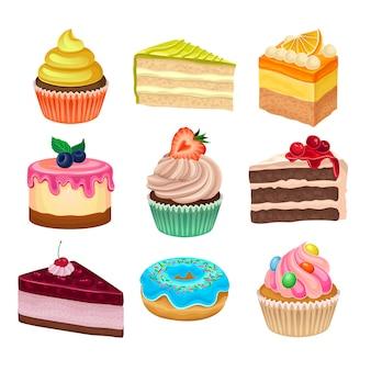 Coleção colorida de várias sobremesas doces. tsty assados.