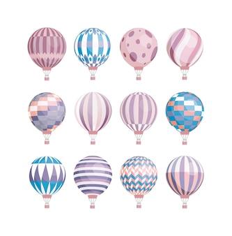 Coleção colorida de vários balões de ar quente. diferentes veículos aéreos isolados