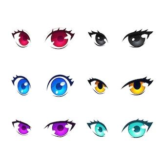 Coleção colorida detalhada de olhos de anime