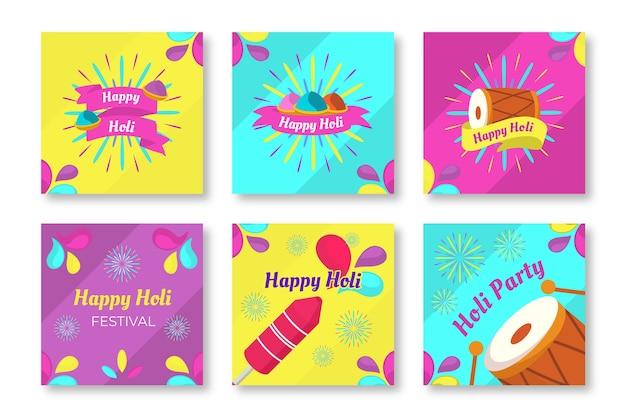 Coleção colorida do instagram do festival holi