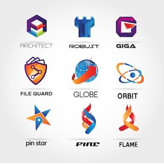 Coleção colorida do logotipo 3d