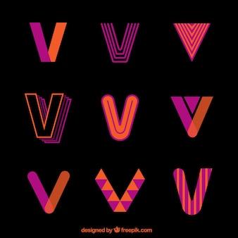 Coleção colorida do modelo da letra do logotipo v
