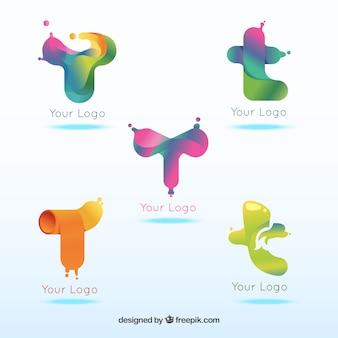 Coleção colorida do modelo da letra t do logotipo