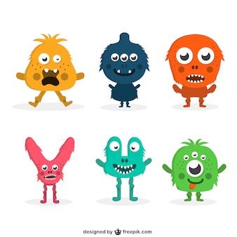 Coleção colorida engraçado monstro