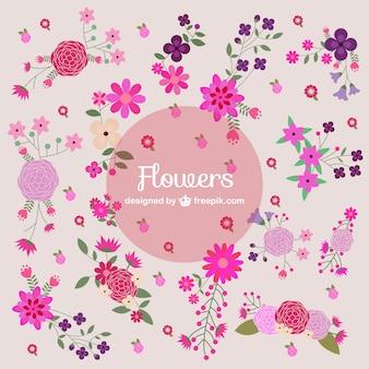 Coleção colorida flores brilhantes