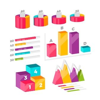 Coleção colorida infográfico isométrica