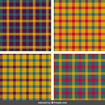 Coleção colorida padrões de tartan