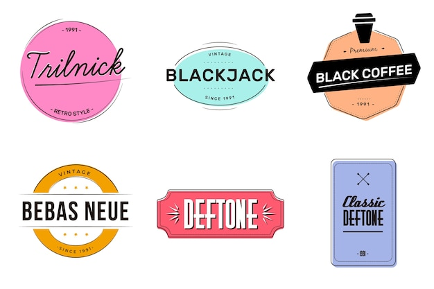 Coleção colorida retrô logotipo mínimo