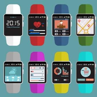 Coleção colorida smartwatches