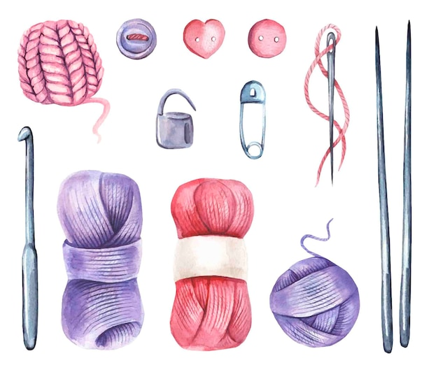 Coleção com aquarela de tricô elementos.