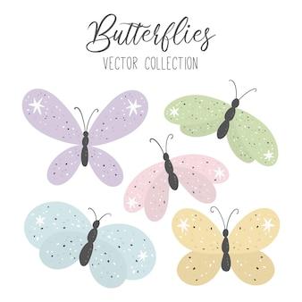 Coleção com borboletas de desenho animado